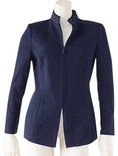 St. John Basics Santana Knit Stretch Zipper Front Blazer Hs3 Navy Jacket