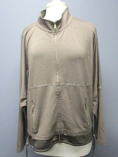 St. John Long Sleeve Solid Full Zip Front Mock Neck Top Sma297 taupe Jacket