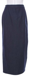 St. John Denim Polyester Lycra Viscose Straight Kick Pleat Long Skirt Blue