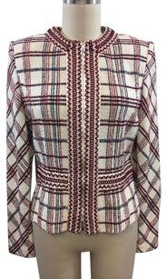 St. John Collection Red Plaid Piped Trim Cream/ Red/ Navy Jacket