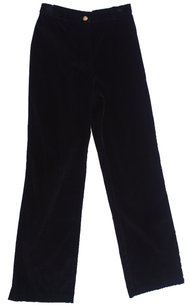 St. John Knit Wool Classic Pristine Condition Velvet Flat Monogram Trouser Pants Black