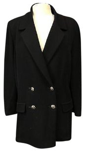 St. John St. John Black Collared Double Breasted Long Faux Pocket Blazer 5249a