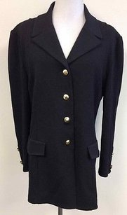 St. John St John Black Wool Gold Button Accent Front And Sleeve Pocket Blazer N884
