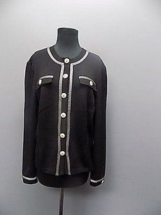 St. John St John Collection Black And White Button Down Knit Blazer 1158a