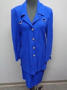 St. John St. John Collection Royal Blue Wool Blend Knit Skirt Suit Sma3822