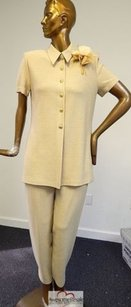 St. John St John Collection Usa Oatmeal Beige Knit Jacket Pant Suit 6