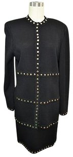 St. John St John Evening Black Knit Gold Studded Sweater Skirt Set