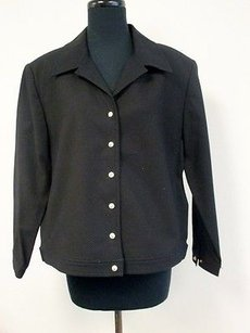 St. John St. John Sport Black Cotton Long Sleeve Solid Snap Front Jacket Blazer X252