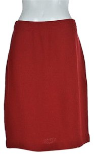 St. John Collection Womens Straight Textured Wool Casual Skirt Red