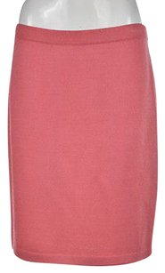 St. John Marie Gray Womens Straight Wool Knee Length Skirt Pink