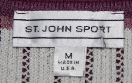 St. John Sport Pink Blue White Wool Ribbed Knit Sweater 2pc Twinset Hs2018 delicate