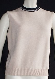 St. John Tan Knitted Ribbed Sweater