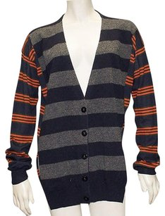 Stella McCartney Navy Multi Cashmere Blend Striped Cardigan Hs2086 Sweater