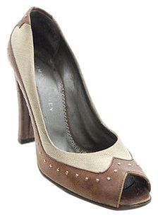 Stella McCartney Vegan Tan Leather Stud Canvas Peep Toe Heels Brown Pumps