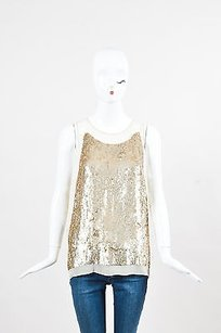 Stella McCartney Top Cream, Metallic Gold