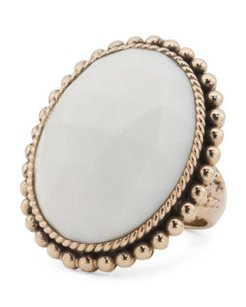 Stephen Dweck STEPHEN DWECK Faceted White Agate Bronze Oval Cocktail Ring