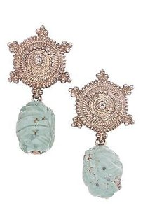 Stephen Dweck Stephen Dweck Sterling Silver Carved Turquoise Drop Earrings