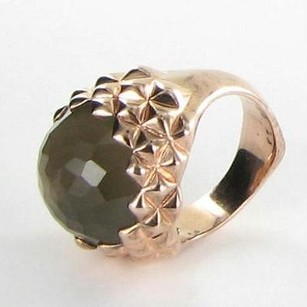 Stephen Webster Stephen Webster Ring Round Superstud Mop Smoky Quartz Rose Gold Plate 925