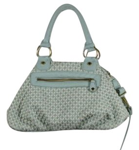 Steve Madden Womens Woven Faux Leather Handbag Satchel in Mint Green