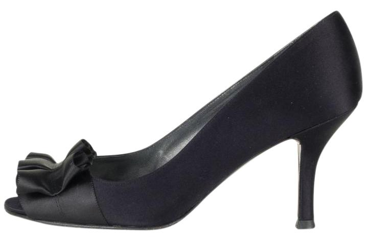 Stuart Weitzman Black Satin Peep Toe Heels Pumps Size US 8 Regular (M, B)