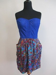 Sugarlips Multi Color Geometric Strapless Coset See O968 Dress