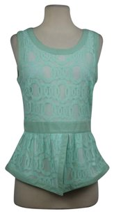 Sugarlips Womens Lace Peplum Shirt Cotton Sleeveless Top Mint