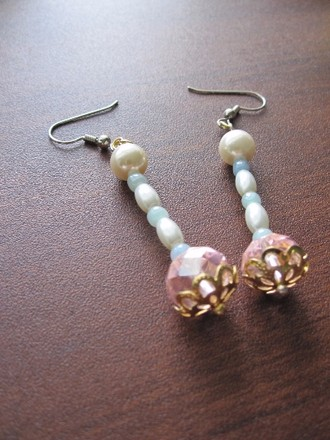 Other Hakone Blossom - Faceted Ruby Red/Rose Pink Crystal Beads and Smooth Milky White Pearl Drop Earrings