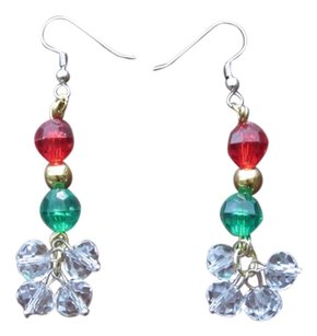 SummerMatcha Tangle - Red, Green and Clear Glass Crystals with Gold Metal Beads Shining Drop Earrings