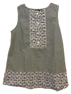 SUNO Striped Tank Casual Top Floral