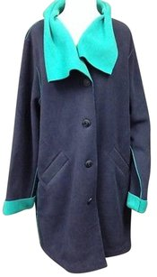 Susan Graver Navy Teal Polyester Button Front Collared Sma 11421 Coat