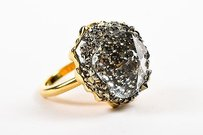 Swarovski Swarovski Crystal Gold Tone Metal Statement Ring