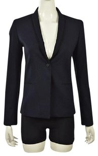 T Tahari T Tahari Womens Navy Blue Blazer Long Sleeve Wtw Textured Jacket