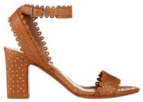 Tabitha Simmons Open Toe Scalloped Eyelet Toffee Sandals