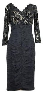 Tadashi Shoji Tadashi Collection Womens Gold Beaded Lace Cotton Blend Sheath Dress