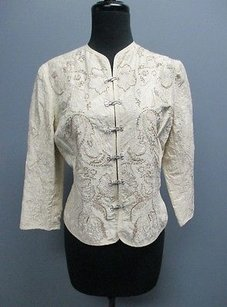 Tahari Cotton Floral Embroidered Thin Clasp Front Sm3371 Beige Jacket