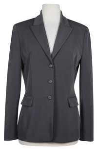 Tahari Womens Solid Black Long Sleeve Blazer Polyester Blend Gray Jacket