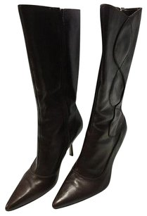 Tahari Dark Leather Pointed Toe Mid Calf Isaiah Heeled B3118 Brown Boots