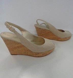 Tahari Casual Peep Toe Slingback Wedge Heel B3151 Beige Sandals