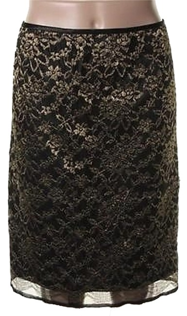 Tahari Skirt Black & Gold