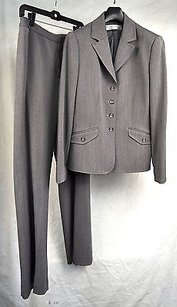 Tahari Tahari Arthur Levine Grey Suit Button Blazer Pants Womens