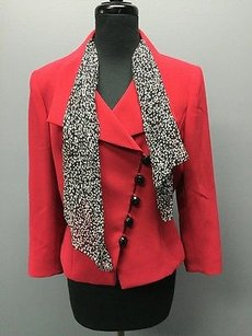 Tahari Tahari Arthur S. Levine Red Side Button Scarf Long Sleeve Formal Blazer 1338a