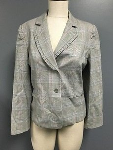 Tahari Tahari Grey Wool Blend Button Collared Plaid Pleat Detail Blazer Sm2015