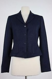 Tahari Tahari Womens Navy Speckled Blazer Long Sleeve Acrylic Blend