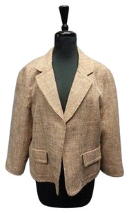 Talbots Textured W Lining And Linen Blend Sma3843 Brown Jacket