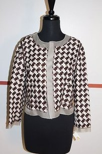 Talbots Brownscream Open Front Crop Blazer And Rayon With Tags Coat