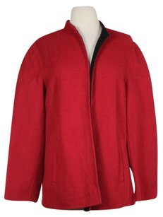 Talbots Womens Solid Long Red Jacket
