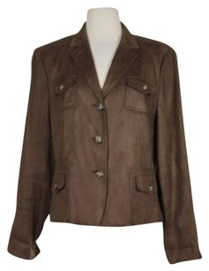 Talbots Womens Solid Long Sleeve Blazer 100 Polyester Brown Jacket