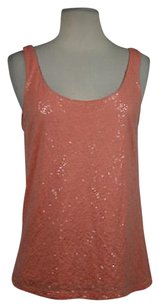 Talbots Womens Petite Mp Pm Sequined Sleeveless Casual Shirt Top Orange