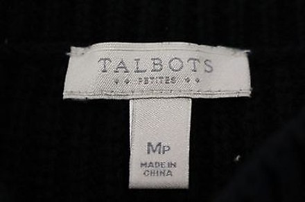 Talbots Womens Petites Black Knit Sweater Top 100 Cotton Crew Neck outlet