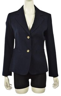 Talbots Talbots Womens Navy Blazer Textured Cotton Wtw Career Jacket